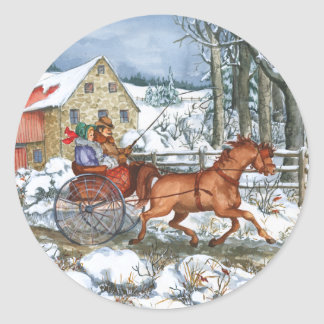 Horse & Carriage Classic Round Sticker