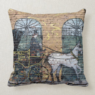 Horse Carriage Mural Downtown Nashville Tennessee Cushion