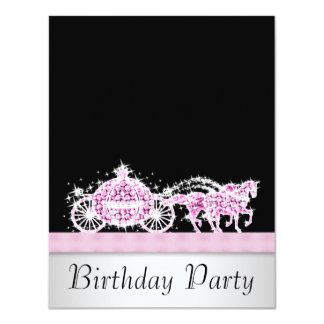 Horse Carriage Pink Black Princess Birthday Party Card