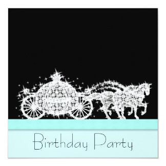 Horse Carriage Teal Blue Princess Birthday Party Custom Invitations