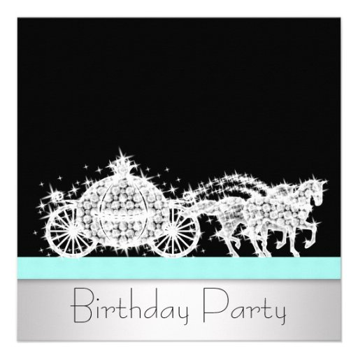 Horse Carriage Teal Blue Princess Birthday Party Custom Announcement