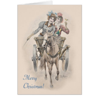 Horse, cart and girls Christmas Card