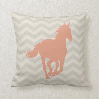 Horse Chevron Pattern Peach Grey Cream Cushion