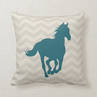 Horse Chevron Pattern Teal Green Grey Cream Cushion