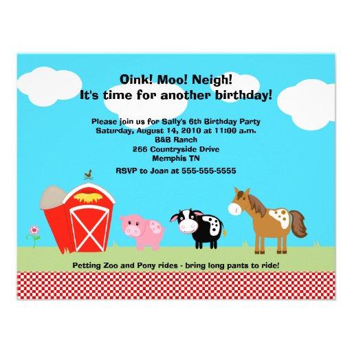 Horse, Cow & Pig Barnyard Birthday Invitations