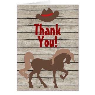 Horse, Cowboy Hat, Barn Wood Western Thank You Card