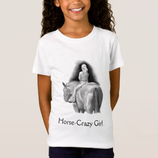 Horse-Crazy Girl: Pencil Art Girl Riding Horseback T-Shirt