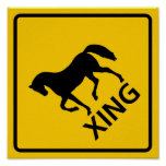 Horse Crossing Highway Sign Posters