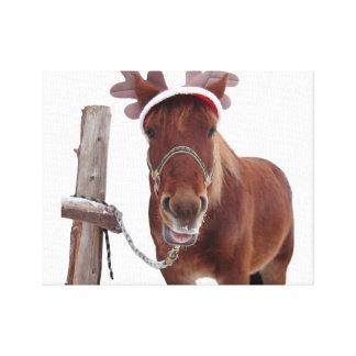Horse deer - christmas horse - funny horse canvas print