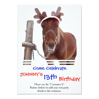 Horse deer - christmas horse - funny horse card