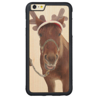 Horse deer - christmas horse - funny horse carved maple iPhone 6 plus bumper case