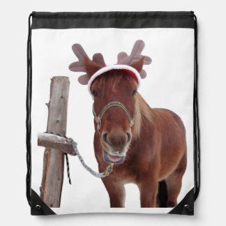 Horse deer - christmas horse - funny horse drawstring bag