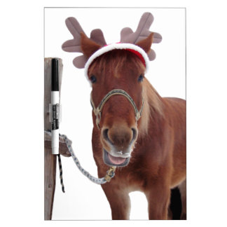 Horse deer - christmas horse - funny horse dry erase board