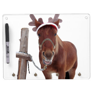 Horse deer - christmas horse - funny horse dry erase board with key ring holder