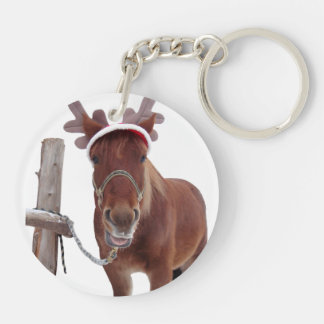Horse deer - christmas horse - funny horse key ring