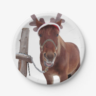 Horse deer - christmas horse - funny horse paper plate
