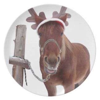 Horse deer - christmas horse - funny horse plate
