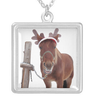 Horse deer - christmas horse - funny horse silver plated necklace