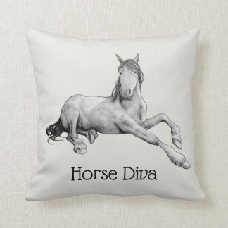 Horse Diva, Drawing of Elegant Horse Lying Down Cushion
