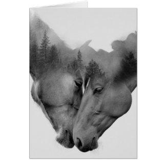 Horse double exposure -horses in love -wild horses card