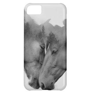 Horse double exposure -horses in love -wild horses iPhone 5C case