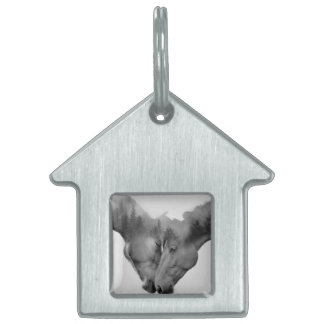 Horse double exposure -horses in love -wild horses pet ID tag
