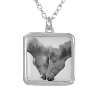 Horse double exposure -horses in love -wild horses silver plated necklace