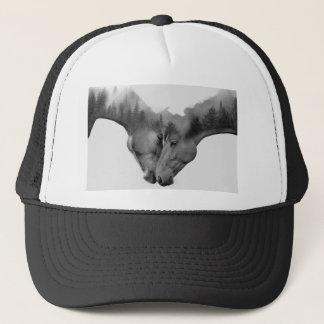 Horse double exposure -horses in love -wild horses trucker hat