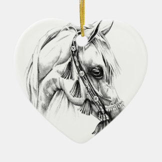 Horse drawing sketch art handmade Double-Sided heart ceramic christmas ornament