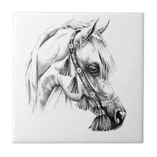 Horse drawing sketch art handmade small square tile