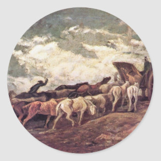 Horse-Drawn By Daumier Honoré Round Sticker
