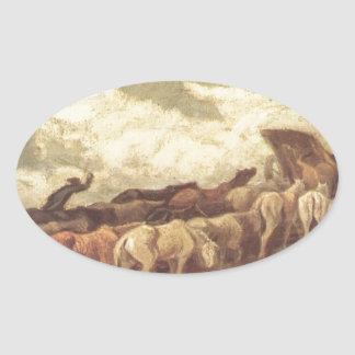 Horse drawn by Honore Daumier Oval Sticker