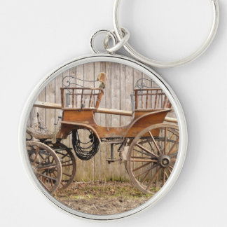 Horse Drawn Carriage Coach Surrey Gifts Silver-Colored Round Key Ring