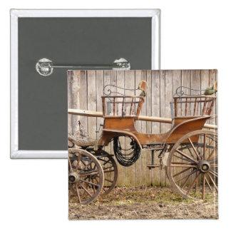 Horse Drawn Carriage Coach Surrey Square Button