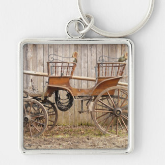 Horse Drawn Carriage Coach Surrey Square Keychain