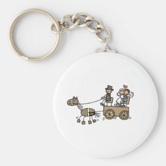 Horse Drawn Carriage For Weddings Basic Round Button Key Ring