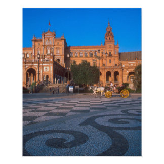 Horse drawn carriage in the Plaza de Espana in Poster