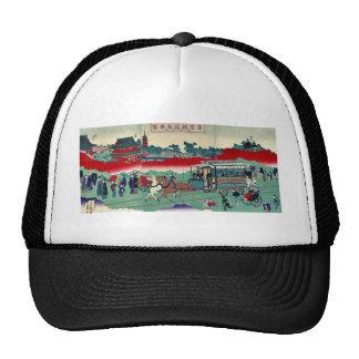 Horse drawn carriage on railroad tracks Ukiyoe Trucker Hats