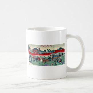 Horse drawn carriage on railroad tracks Ukiyoe Coffee Mug