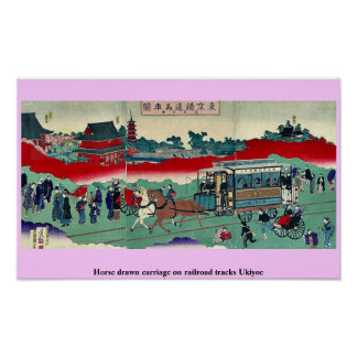 Horse drawn carriage on railroad tracks Ukiyoe Poster