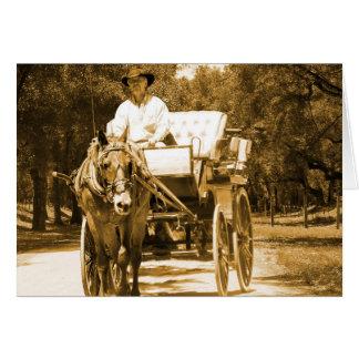 Horse Drawn Carriage Ride Sepia tone note card set