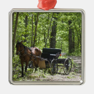 Horse drawn carriage tethered in woods Silver-Colored square decoration