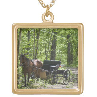 Horse drawn carriage tethered in woods square pendant necklace