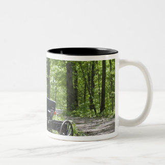 Horse drawn carriage tethered in woods Two-Tone mug