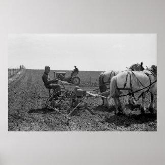 Horse-Drawn Corn Planter, 1940 Poster