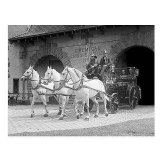 Horse-Drawn Fire Engine, 1922 Postcard