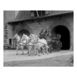 Horse-Drawn Fire Engine, 1922. Vintage Photo Poster