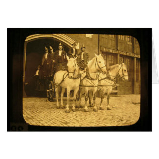 Horse Drawn Hook and Ladder Fire Company - Vintage Greeting Card