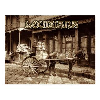Horse drawn milk cart, New Orleans, Louisiana Postcard