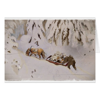 Horse Drawn Sled in the Woods Greeting Card